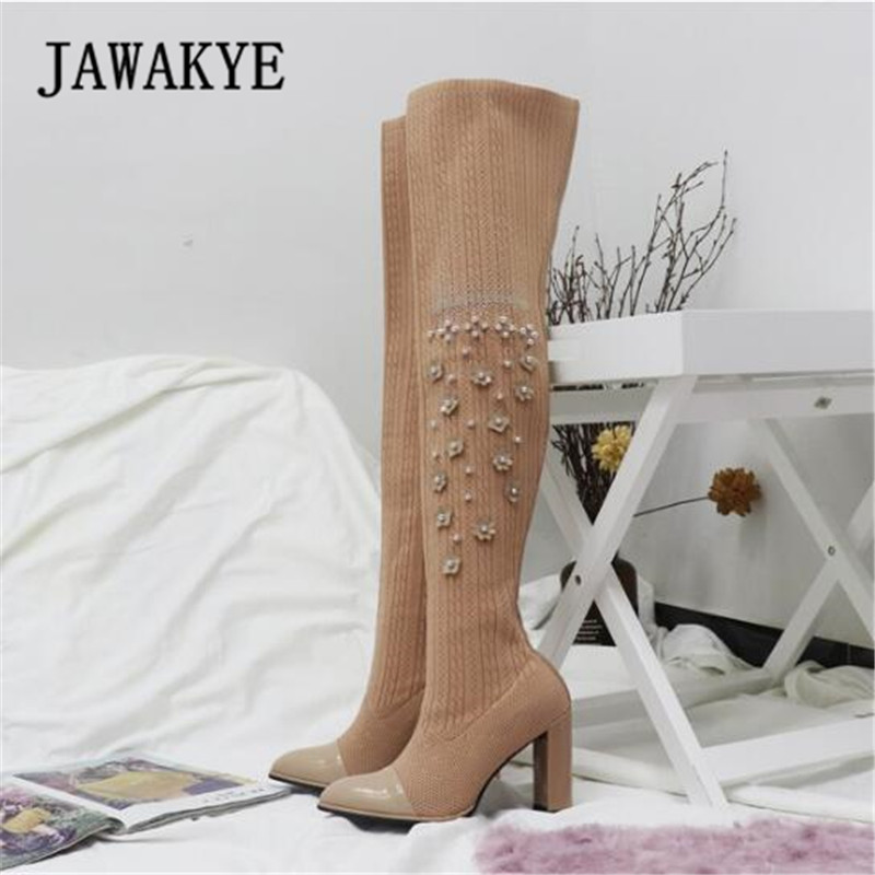2017 Newest Flowers Sock Boots Women Pointed Toe Rhinestone Bead High Heel Shoes Woman Fashion Stretch Knit Over The Knee Boots black stretch fabric suede over the knee open toe knit boots cut out heel thigh high boots in beige knit elastic sock long boots