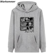 Warhammer Geek Style Hoodies Men Printed EAT SLEEP GAME Thick Fleece Cotton Sweatshirts Geek Fans O-nck Casual XXXL Winter Hoody