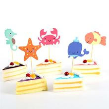 Underwater World Picks Fish Crab Starfish Sea Animal Cupcake Toppers Baby Shower Birthday Party Cake Decoration Supplies(China)