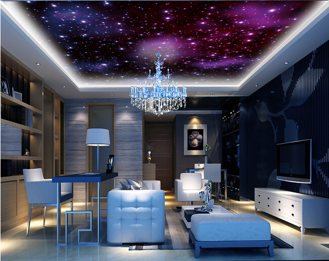 Custom Universe Wallpaper, the Starry sky and universe for the bedroom KTV restaurant hotel ceiling wall fabric  parede de Papel custom 3d stereo ceiling mural wallpaper beautiful starry sky landscape fresco hotel living room ceiling wallpaper home decor 3d