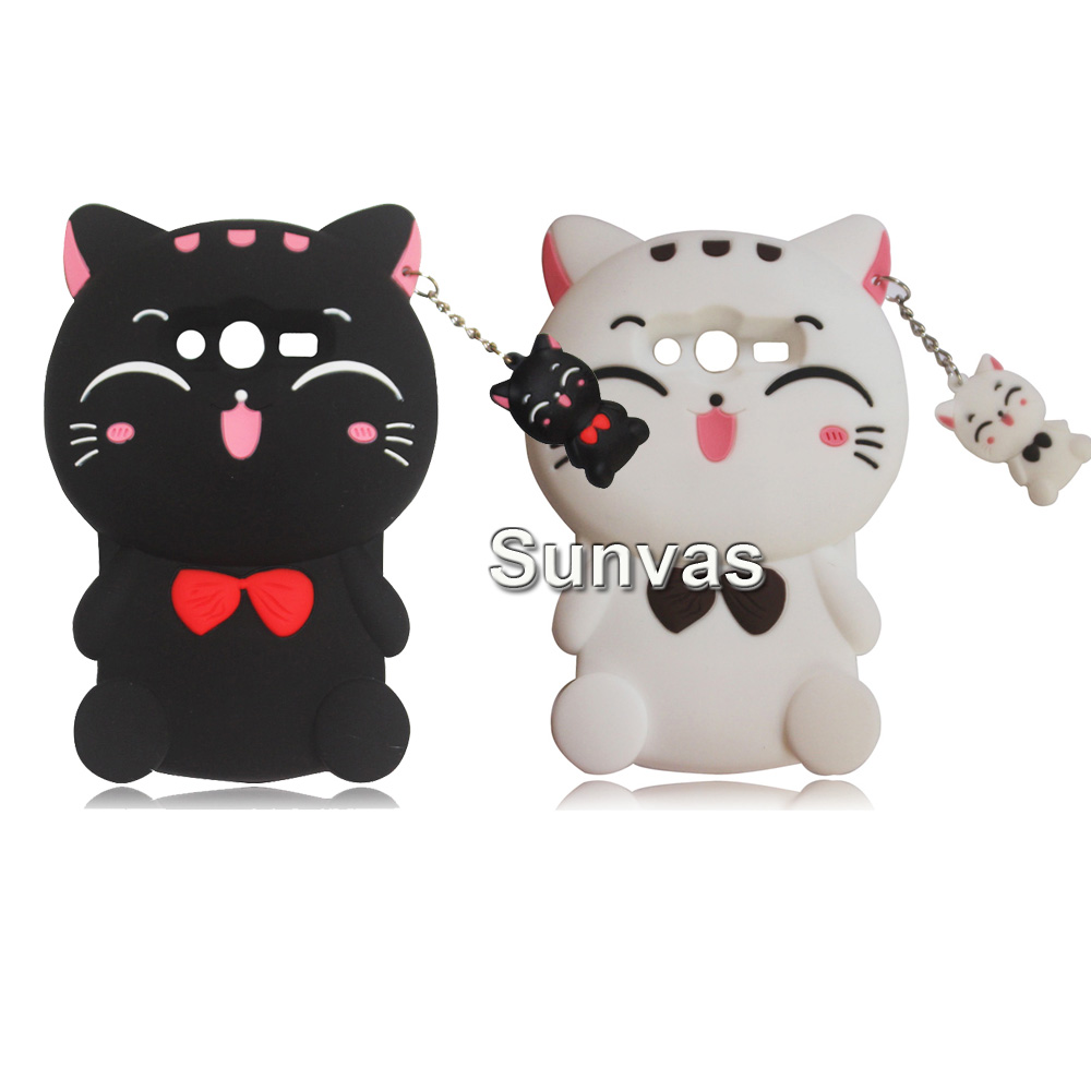 3D Cartoon Lucky Cat Silicone Cover Case For <font><b>Samsung</b></font> <font><b>Galaxy</b></font> <font><b>Ace</b></font> <font><b>4</b></font> Lite G313 G313H <font><b>SM</b></font>-G313H <font><b>Ace</b></font> <font><b>4</b></font> <font><b>Neo</b></font> <font><b>SM</b></font>-<font><b>G318H</b></font> Phone Bag Case image