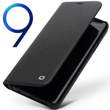 ef9fa73ca80 QIALINO Funda de cuero genuino estilo de negocios para iPhone X ventana  Flip Pure Handmade funda de lujo para iPhone X para 5,8 pulgadas