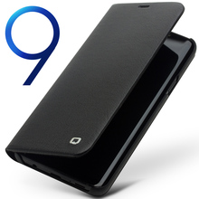 QIALINO Da Chính Hãng Lật Case cho Samsung Galaxy S9 Thời Trang Sang Trọng Siêu Mỏng Ống Đỡ Động Mạch Điện Thoại Bìa cho Samsung S9 + Cộng Với 6.2 inch