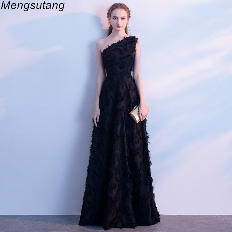 Robe de soiree One-Shoulder Lace Black long elegant Backless   Evening     Dresses   vestido de festa Formal prom   dresses   party   dresses