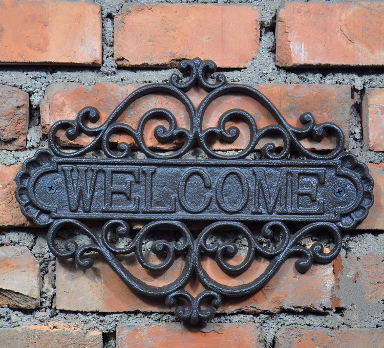 Cast Iron Rustic Welcome Sign Decorative Welcome Wall Plaque Vintage Design For Door Entrance or Porch