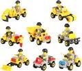 La Construcción de la ciudad Serie 8 unids Excavadora Bulldozer Camión Dumper Building Blocks Juguetes Educativos Compatible Legoe Ciudad Coche
