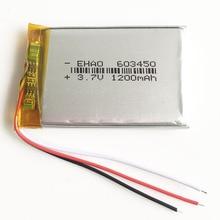 3,7 в 1200 мАч 603450 Литий-полимерная LiPo аккумуляторная батарея 3 провода для gps psp DVD мобильный Видео игровой коврик электронные книги планшетный ПК