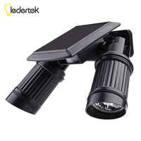 Security Lamp Rotatable Waterproof Spotlight Outdoor 7 2 LED Solar Power Dual Head PIR Motion Sensor