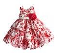 Rose Floral Niñas Vestido En Capas Vestido de Boda de la Fiesta de Navidad para La Muchacha del Año Nuevo Embroma la Ropa roupas infantis menina 3 M-4 T