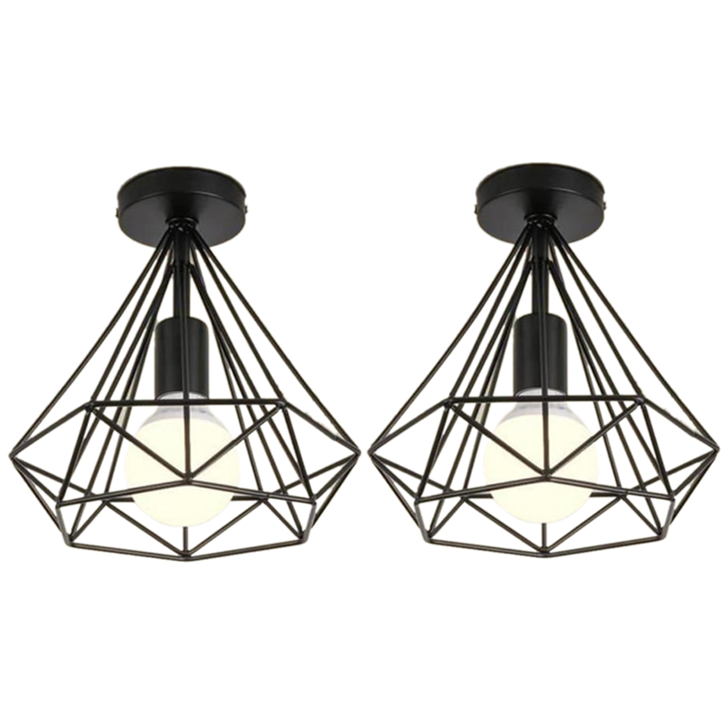 2Pcs Ceiling Light Industrial Cage Shape Diamond Black Chandelier Suspension Metal Iron Fixture For Kitchen Corridor