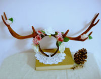 Reindeer Antlers Headband With Roses Flowers Vintage Retro Cosplay Hair Band Accessories Gothic