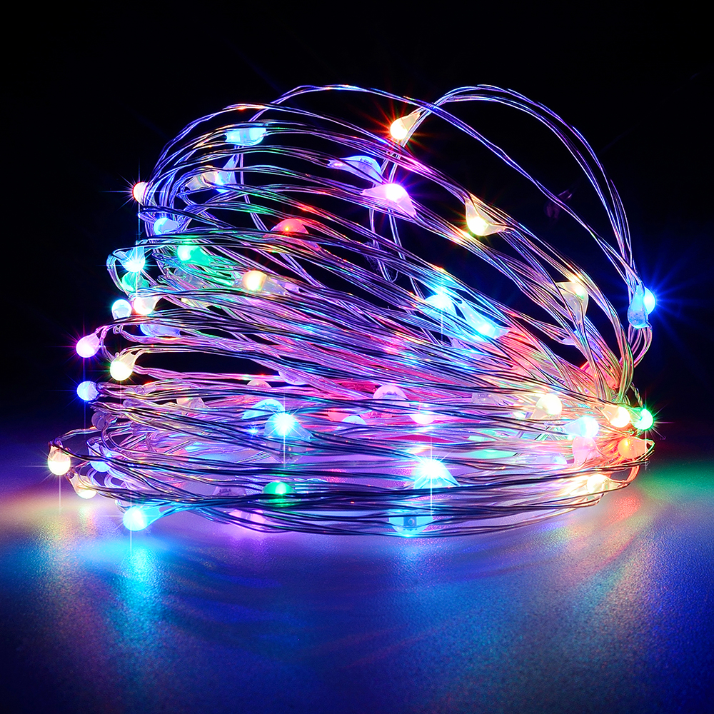 String Led Lights 1/5/10M 100led Battery Powered Outdoor Warm White Copper Wire Christmas Festival Wedding Party Decoration