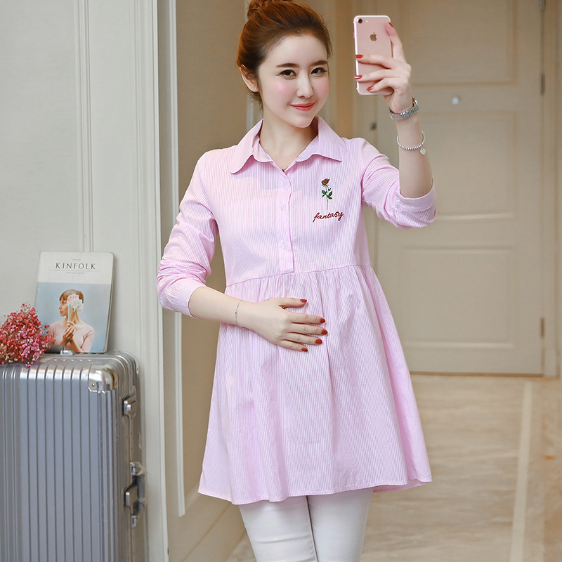 Summer Cotton Linen Maternity Blouses for Pregnant Women Long sleeved Blouse Casual Pregnancy Clothes Mom Business Wear Top C229