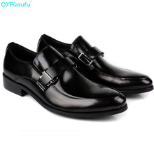 Fashion Oxford Business Men Shoes Hasp Slip-on Formal Pointed Toe Luxury Brand Genuine Leather
