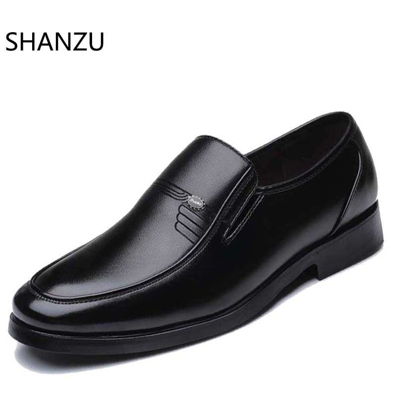 Men Dress Leather Shoes Slip On Fashion Italian Male Formal Oxford Shoes For Flats Luxury Pointed Toe Casual Shoes For Men 631