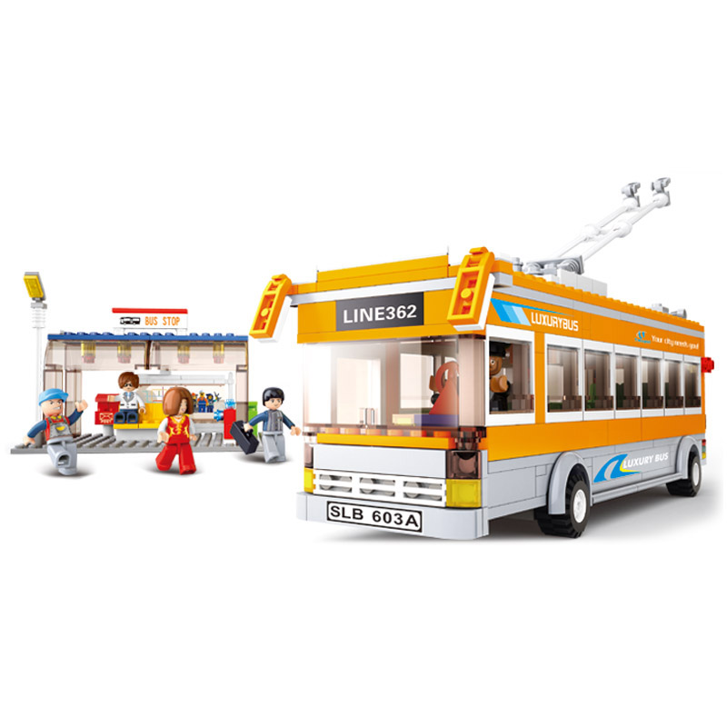 B0332 SLUBAN City Series Trolley Bus Model Building Blocks Classic Enlighten DIY Figure Toys For Children Compatible Legoe 10639 bela city explorers volcano crawler model building blocks classic enlighten diy figure toys for children compatible legoe