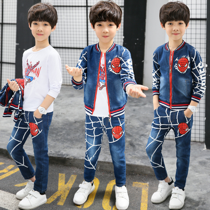 2017 Autumn Spiderman Boys Outwear Suits Spring Cartoon Boy Clothes Set Warm 3pcs Children Clothing Set Kids Cowboy Costumes spiderman children boys suits clothing baby boy spider man sports set 3 12 years kids 2pcs sets spring autumn clothes tracksuits