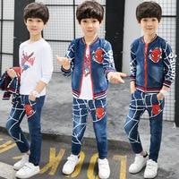 2017 Autumn Spiderman Boys Outwear Suits Spring Cartoon Boy Clothes Set Warm 3pcs Children Clothing Set Kids Cowboy Costumes