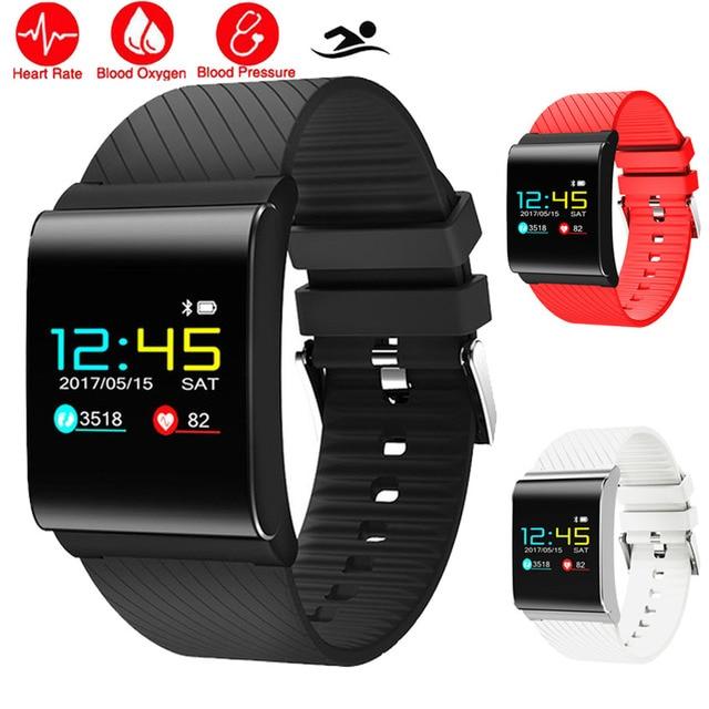 90b0559e278 Cor do Metal Inteligente Relógio Do Esporte da Frequência Cardíaca Monitor  de Pressão Arterial Montre