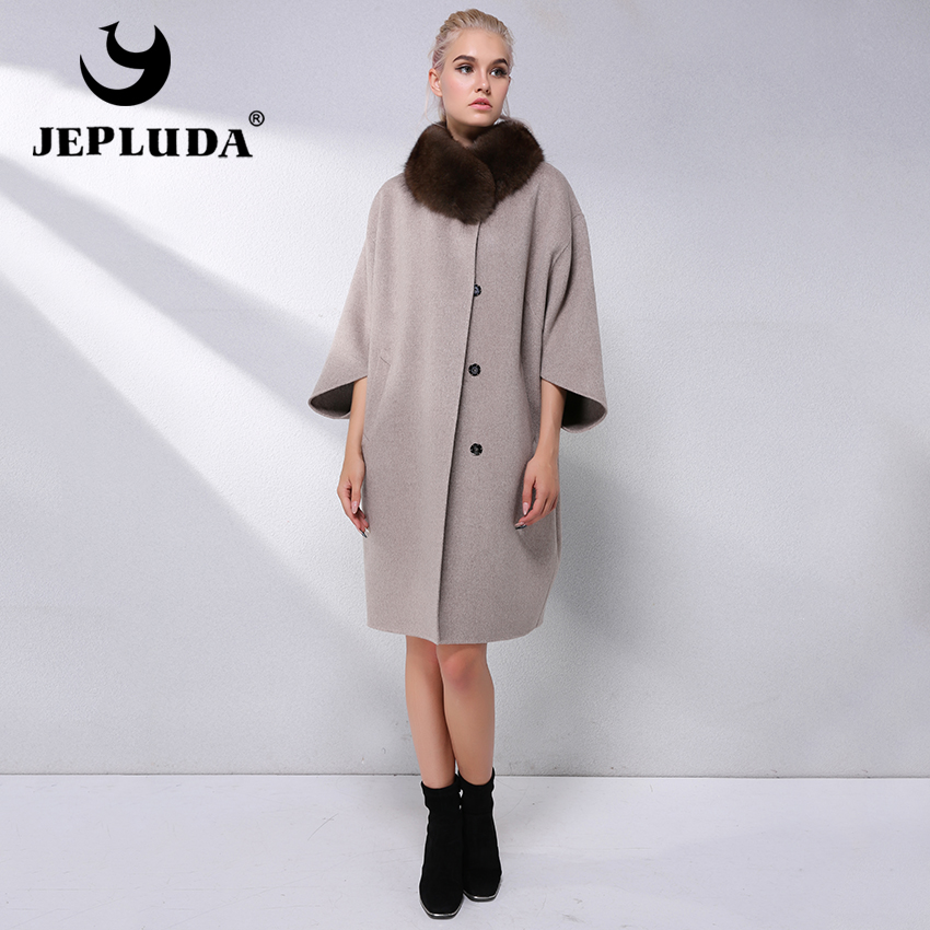 JEPLUDA Elegant Plus Size Wool-Blend Coat With Real Fox Fur Women Natural Real Fur Coat Loose Style Cashmere Coat Jacket Women(China)