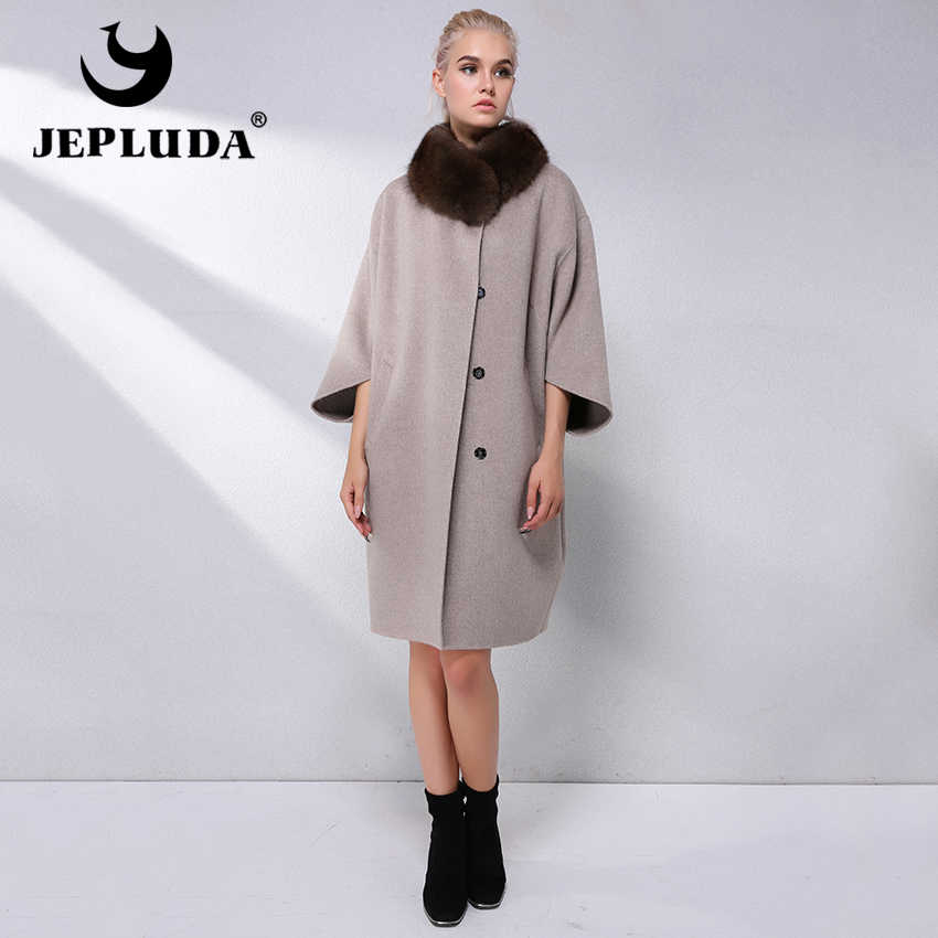 e385b774cd4 JEPLUDA Высокое Содержание 90% Кашемирового Пальто с Меховым Воротником  Натуральный свободные Plus Size Шерстяное Пальто