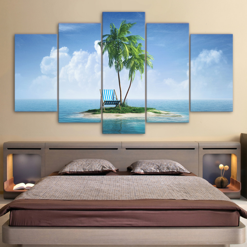 Canvas Painting Wall Art Home Decor Unframed 5 Pieces Tropical Island Ocean Sunny Living Room Modern HD Printed Landscape