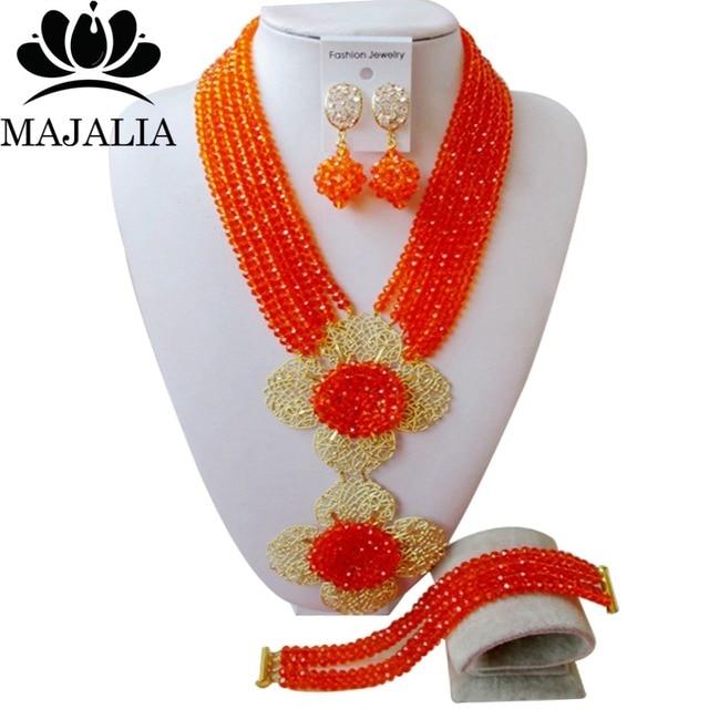 2017 Fashion african beads jewelry set orange Nigeria Wedding Crystal necklace Bridal Jewelry sets Free shipping VV-043