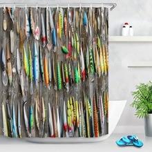 72 ''использованные рыболовные приманки на старом деревянном заборе для ванной водонепроницаемый тканевый занавеска для душа полиэстер 12 крючков комплект аксессуаров для ванной