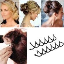 3PCS Black Barrette Spiral Spin Screw Pin Hair Twist Hairpin