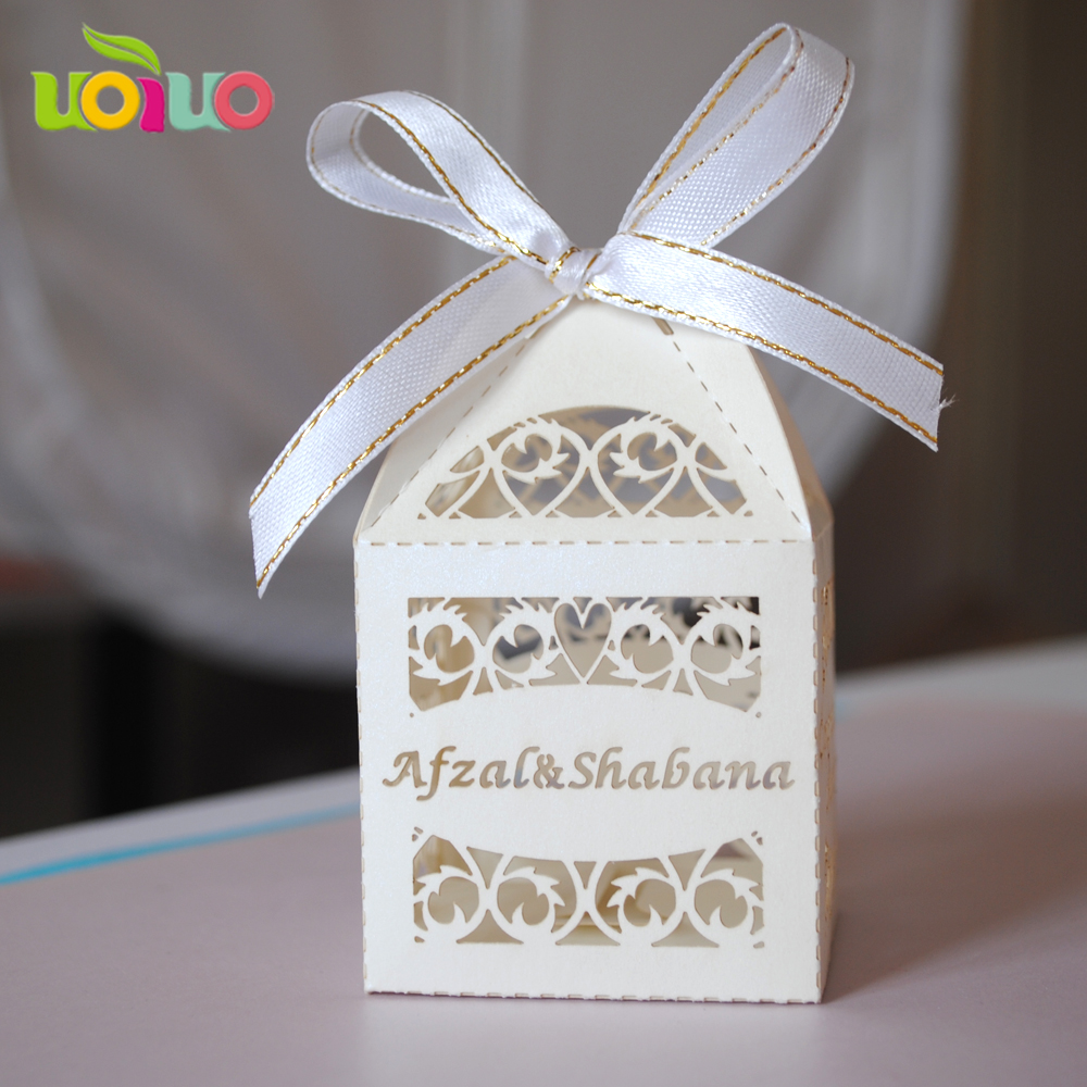 100pieces/lot Wedding Decoration Chocolate Box Candy Box Laser ...