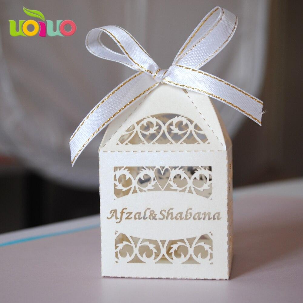 2016 популярный дизайн персонализированные белый лазерная резка свадебное box