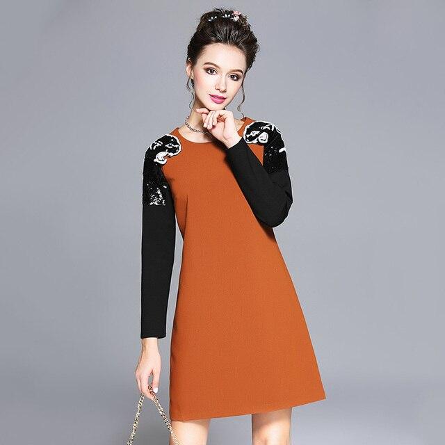 Aofuli New Autumn Winter Women Long Sleeve Beading Pattern Office