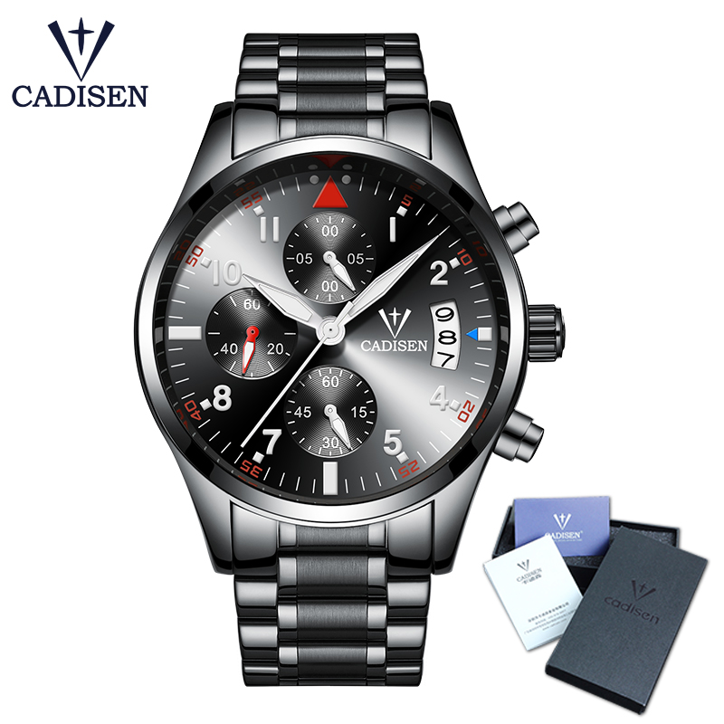 Cadisen Men Watches Fashion Luxury Brand sport Men's Quartz Watch Stainless Steel Business relogio masculino 30M waterproof