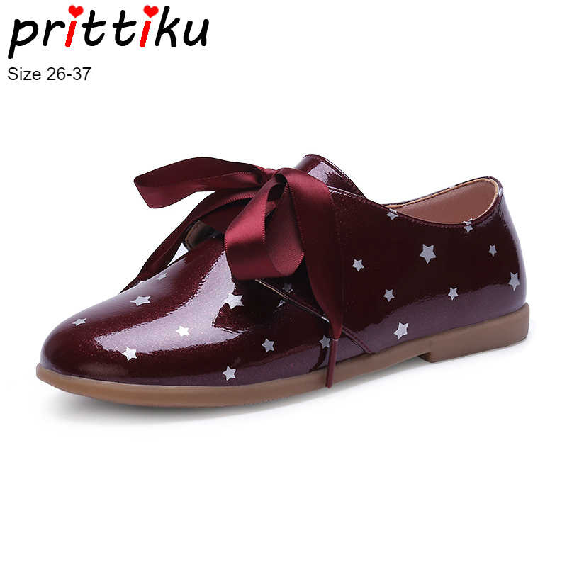 3b5ff7e38a2 Autumn 2018 Girls Shiny Leather Ribbon Lace Up Oxford Toddler Little Big  Kid Polka
