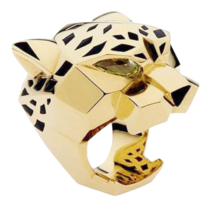 Bella Fashion Leopard Panther Animal Finger Ring Cubic Zircon Black Enamel Party Rings Gold Tone For Both Men and Women Rings fashion circle ring and embroidery embellished black baseball cap for men