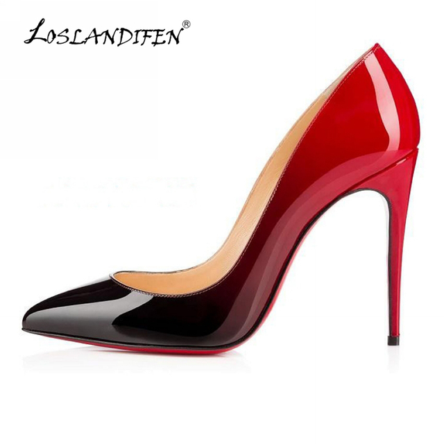 LOSLANDIFEN Sexy Pointed High Heels Women Mix color print Pumps Shoes New Spring Wedding Shoes Pumps EU SIZE 35-42 302-1PA