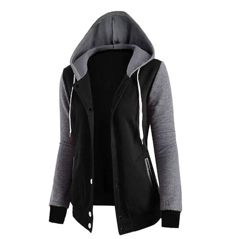 Splicing Hooded Pocket Long Sleeve Buckle Top Jacket Women's Sweatshirts
