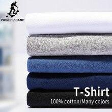 Campamento de pioneros de la camiseta de la marca de los hombres ropa 100% algodón camiseta de sólidos casuales de los hombres hombre corto manga más tamaño