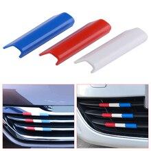 CITALL 3 adet plastik araba ön ızgara ızgara kapağı Trim fransa bayrağı renk Peugeot 301 için Fit 4008 308 408