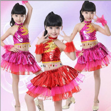 New Childrens Day Dance Wear Girls Latin Performance Costumes Personalized Sequin Street