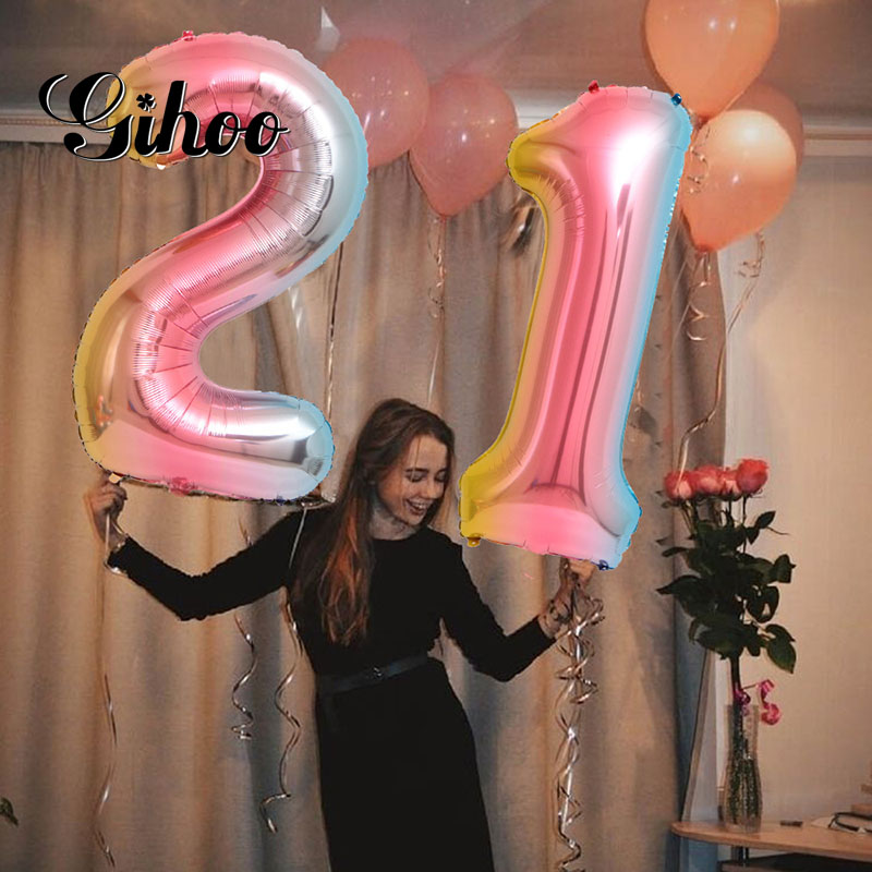 2pcs <font><b>30</b></font> inch gradient digital aluminum foil helium balloon21/26/<font><b>30</b></font> years old digital balloon adult <font><b>birthday</b></font> party <font><b>decoration</b></font> image
