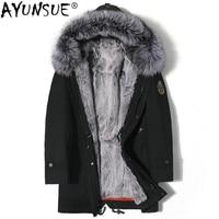 AYUNSUE Real Fur Parka Men Winter Jacket Rabbit Fur Liner Silver Fox Fur Collar Korean Long Padding Coat Men Warm Parkas KJ1486