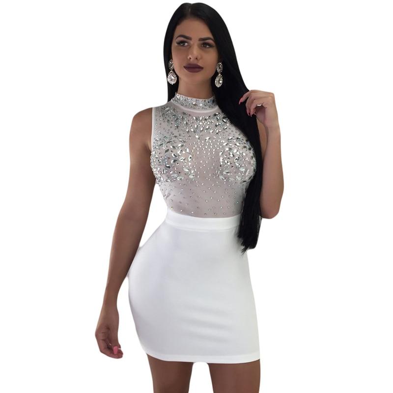 Summer new womens dress sexy sequin mesh white black burgundy