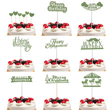 Cake Flags Green Cupcake Cake Toppers Topper Kids Happy Birthday Wedding Bridal Merry Christmas Cake Wrapper Party Baking DIY cake flags happy mother s day best mom cupcake cake topper toppers kids birthday wedding bridal cake wrapper party baking diy