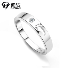 1PCS Unique Hollow Footprint Ring Silver Plated Zircon Ring For Women Men Promise Jewelry Engagement Couple Rings Bijoux