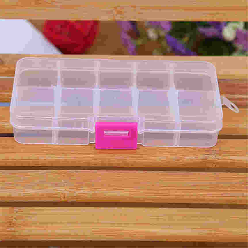 Happy Sale Factory Price Hot Sale 10 Grids Adjustable Jewelry Beads Pills Nail Art Tips Storage Box Case or Organizer Aug23