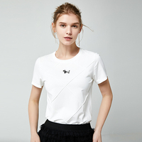 YOYOCATHY 100% Mercerized Cotton White T shirt Women Short Summer Solid Color Undershirt Loose Dog Embroidery Tee Shirt Femme