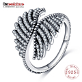 LZESHINE Authentic 925 Sterling Silver Ring with AAA Cubic Zirconia Vintage Feather Style  Mother's Day Gift Rings  PSRI0064-B