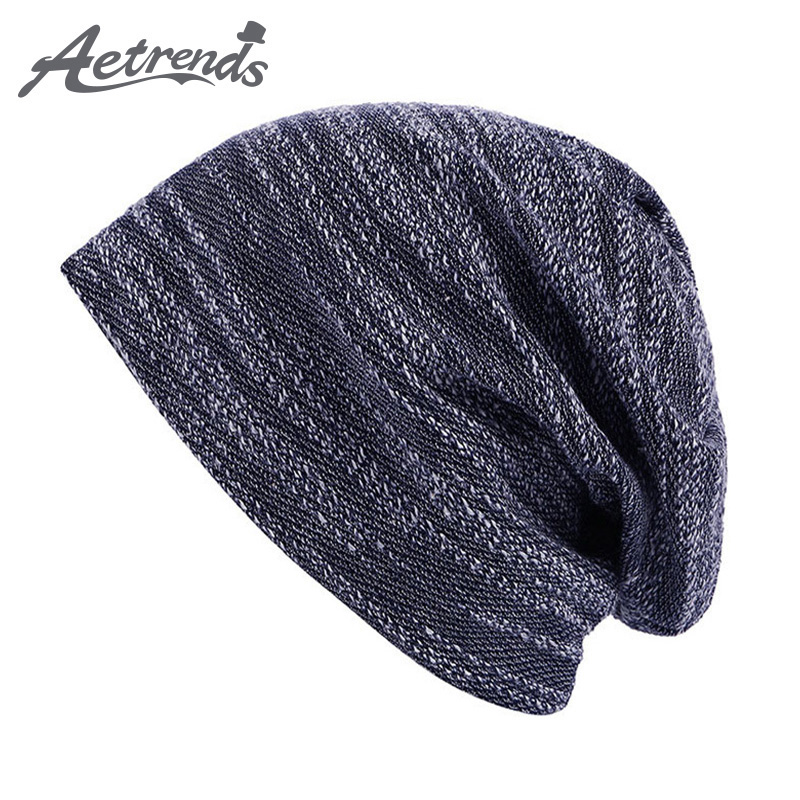 [AETRENDS] 2017 New Leisure Skullies Beanies Winter Hat For Men Fashion Warm Hat Fashion Knitting Cap Outdoor Sport Hat Z-0392 the new children s cubs hat qiu dong with cartoon animals knitting wool cap and pile