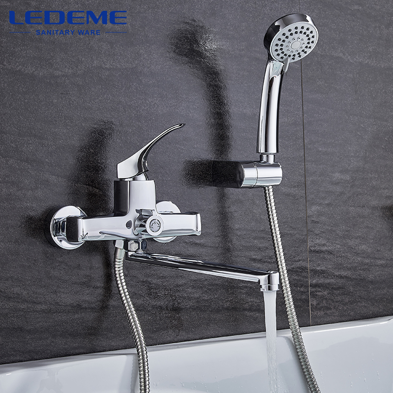 LEDEME Bathroom Fixture Sets Faucets 1 SET Set Bath Shower Tap Bathroom Shower Set Bathtub Faucet Waterfall Shower Head L2242 free shipping polished chrome finish new wall mounted waterfall bathroom bathtub handheld shower tap mixer faucet yt 5333